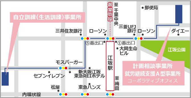 吹田千里山西郵便局の地図